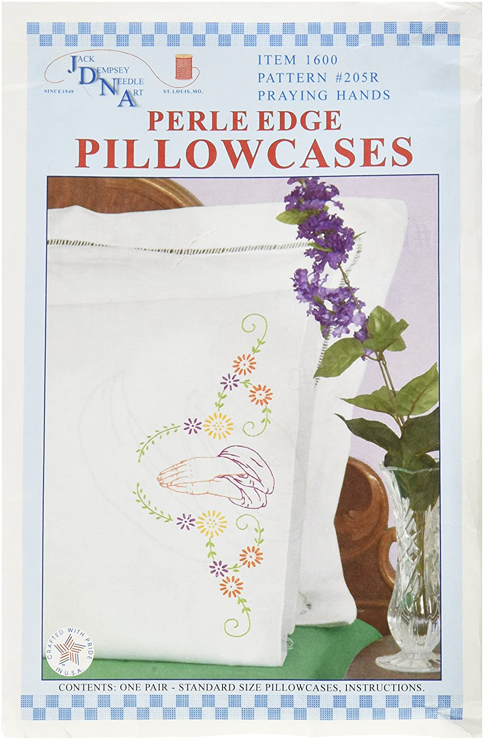 Jack Dempsey Stamped Pillowcases with White Perle Edge, Praying Hands, 2-Pack 1600 205