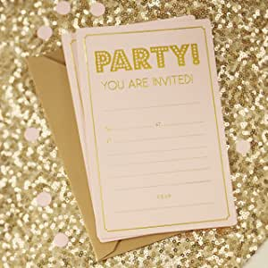 10 Invitation Banners Foiled Gold On Cream Card