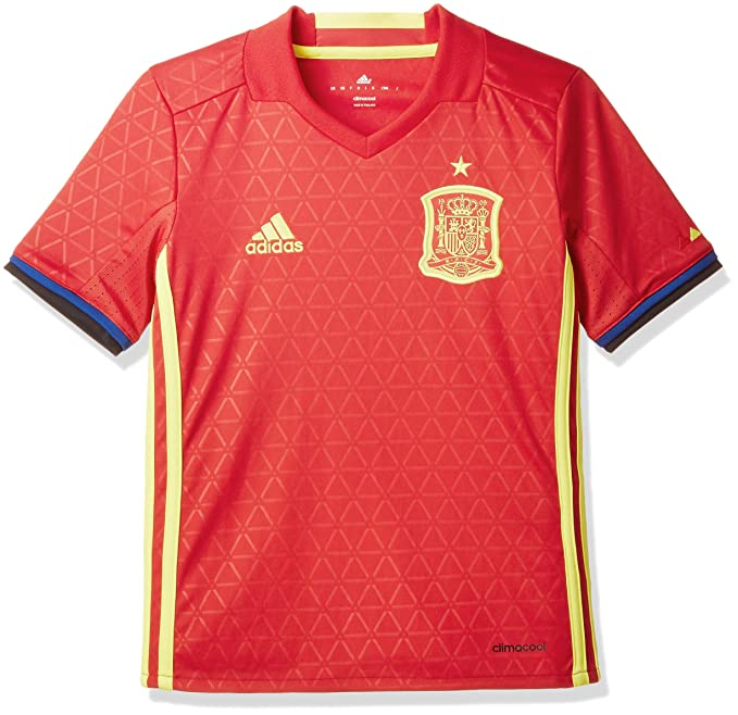 adidas FEF H JSY Y Camiseta Selección Española de Futbol 1ª Equipación 2016/ 2017, niño, Rojo/Amarillo/Azul (Escarl/Amabri), 176: Amazon.es: Deportes y aire libre