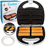 Empanada and Churro Maker Machine- Cooker w 4 Removable Plates- Easier than Empanada Press or Churro Press- Includes Dough Cutting Circle for Easy Dough Measurement, Fun Father's Day Gift