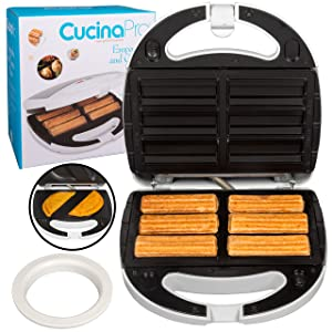 Empanada and Churro Maker Machine- Cooker w 4 Removable Plates- Easier than Empanada Press or Churro Press- Includes Dough Cutting Circle for Easy Dough Measurement