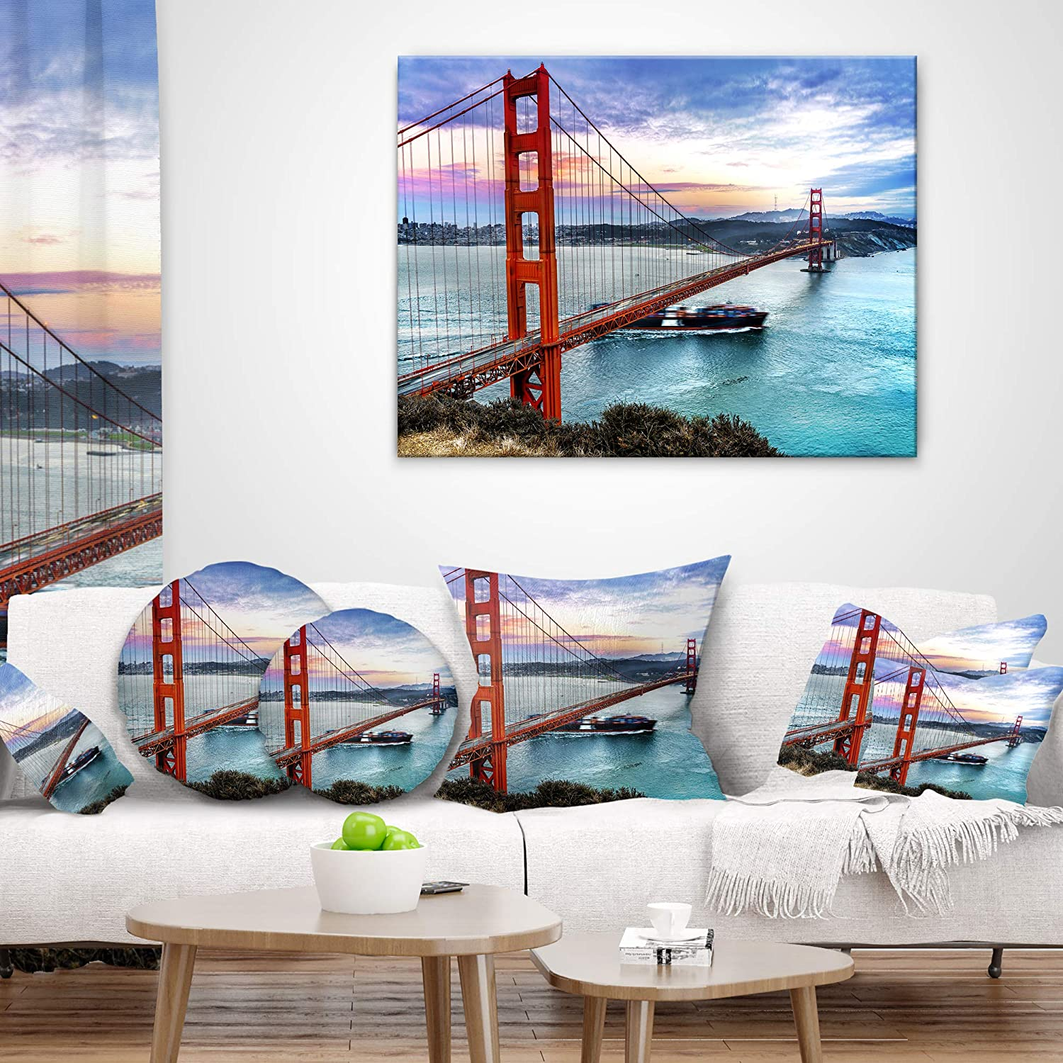Insert Printed On Both Side X 26 In Sofa Throw Pillow 26 In In Designart Cu10037 26 26 Golden Gate In San Francisco Sea Bridge Cushion Cover For Living Room Home Kitchen Decorative