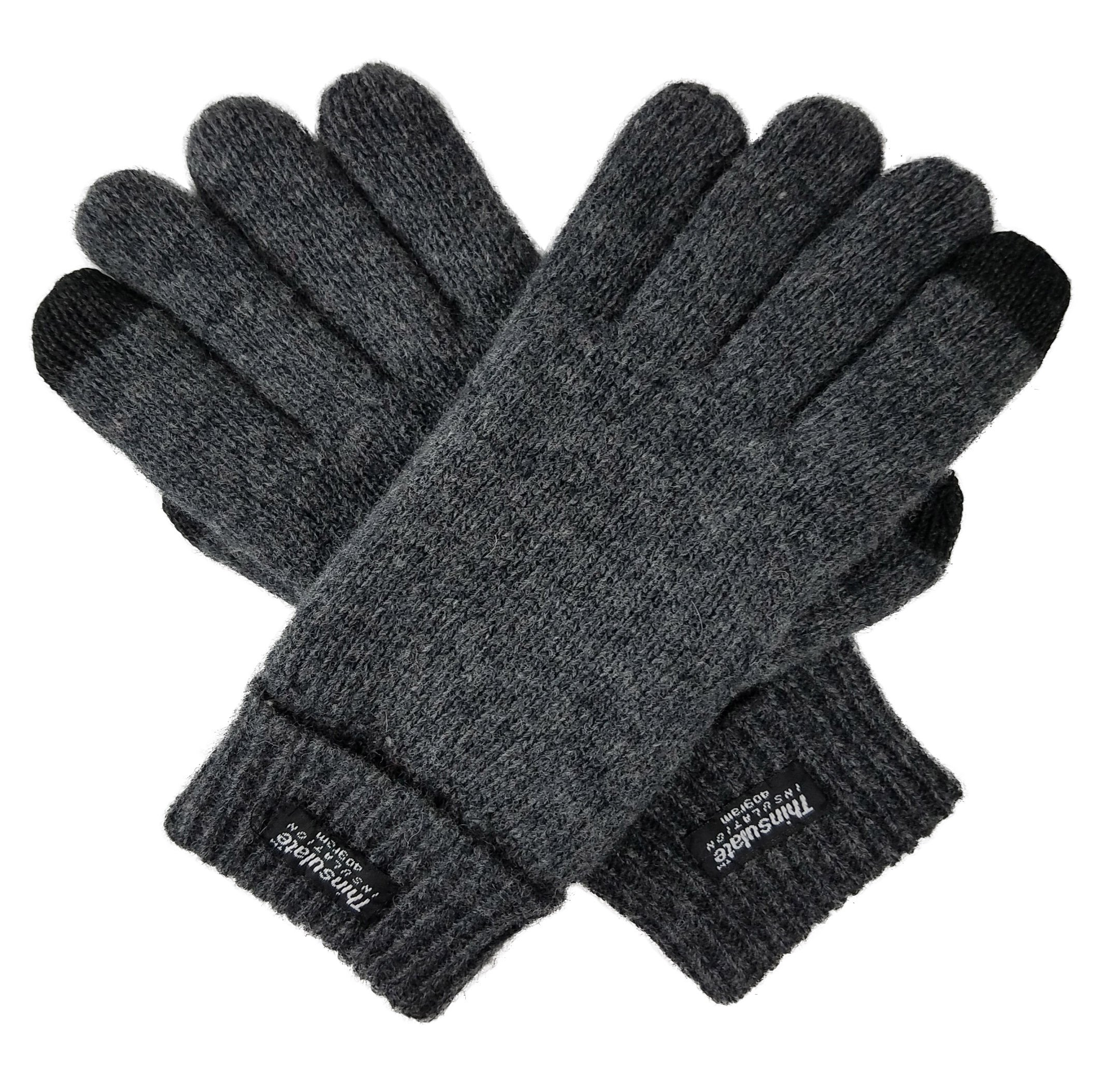 Bruceriver Ladie's Wool Knit Gloves with Thinsulate Lining Size L (Anthra Touchscreen) by BRUCERIVER