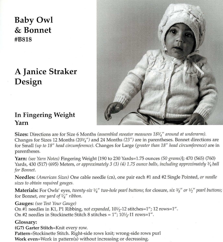 Baby Owl /& Bonnet #B818 A STRAKER CLASSICS DESIGN