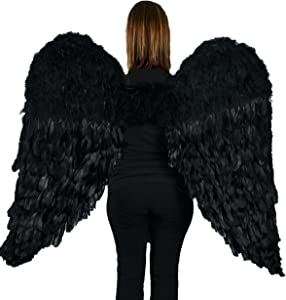 "Touch of Nature Black Adult Angel Wings - 52"" by 36"" - Halo Included - Black Feather Wing - Costume Wings - Large Angel Wings"