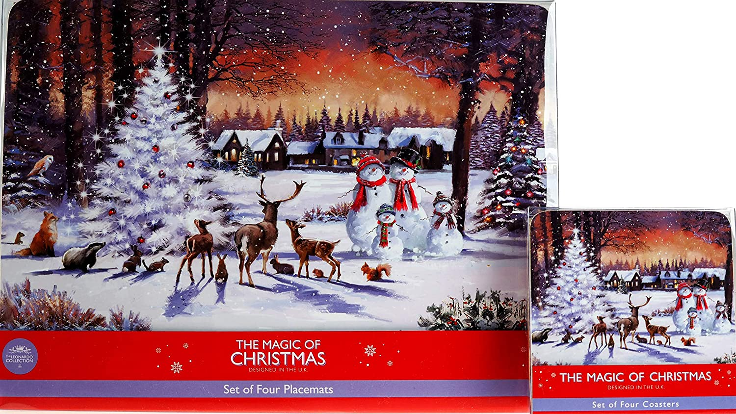 There is Snow Place Like Home For Christmas Set Of Four Coasters Red Color