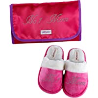 Varsany Pink Crystal No.1 Mum Best House Slippers & Travel Bag Mother's Day Christmas or Birthday Present Gift