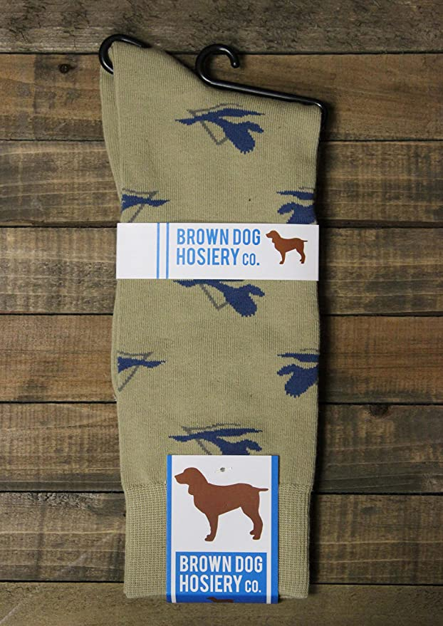 Brown Dog Hosiery - 3 Pack Mens Khaki Dress Sock with Delta Waterfowl Design Size 10-13