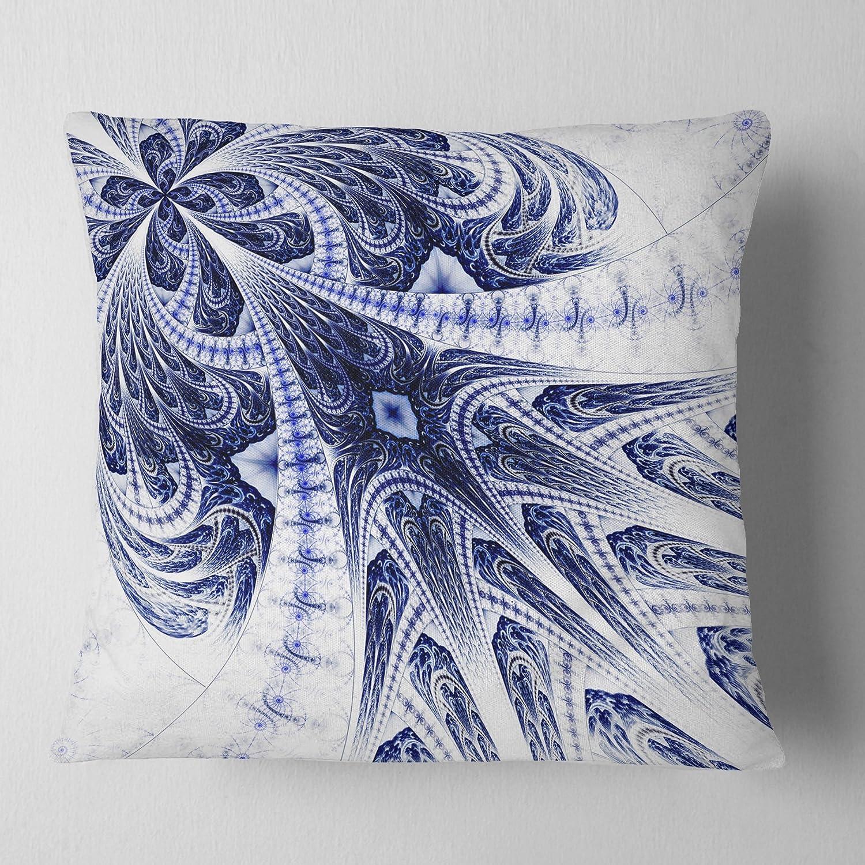Designart Cu12048 16 16 Symmetrical Dark Blue Fractal Flower Floral Cushion Cover For Living Room Sofa