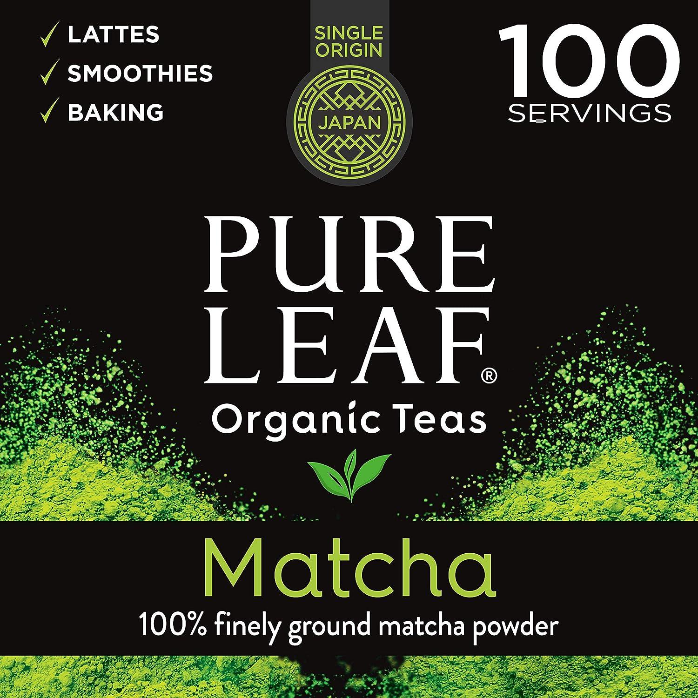 Pure Leaf 100% Organic Matcha Green Tea Powder for Green Tea Matcha Latte, Matcha baking recipes, Green Tea Smoothies Matcha Powder 100g Value Size, 3.5 Ounce