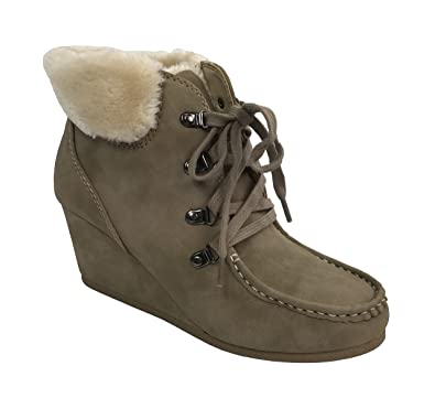 Women's Faux Fur Cuff Ankle Bootie Wedge Lace Up Eyelets Warm Boot