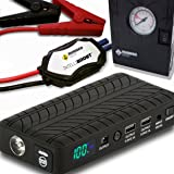 Rugged Geek RG1000 Safety Plus 1000A Portable Car Jump Starter, Battery Booster Pack and USB/Laptop Power Supply with LCD Display, INTELLIBOOST Smart Cables, LED Flashlight, and 12V AIR COMPRESSOR!