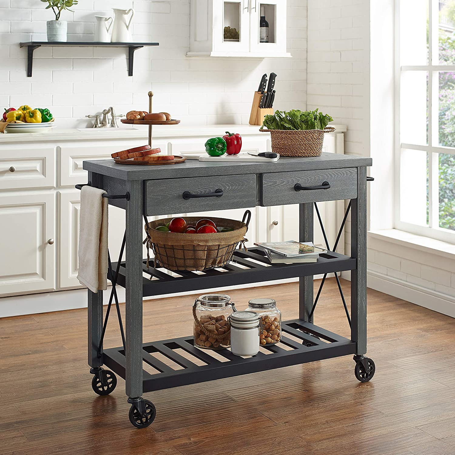 Kitchen Dining Room Furniture Grey Crosley Furniture Cf3008 Gy Roots Rack Industrial Rolling Kitchen Cart Kitchen Islands Carts