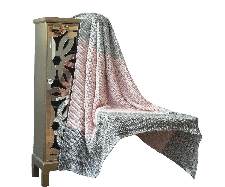 Moss StitchラグジュアリーコットンThrow Blanket – Venaコレクションbyピンクレモネード – 100 %コットン – ピンクとグレー B071RBW1JX