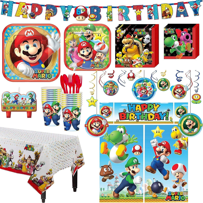 Amazon.com: Super Mario Kit de fiesta de cumpleaños, incluye ...