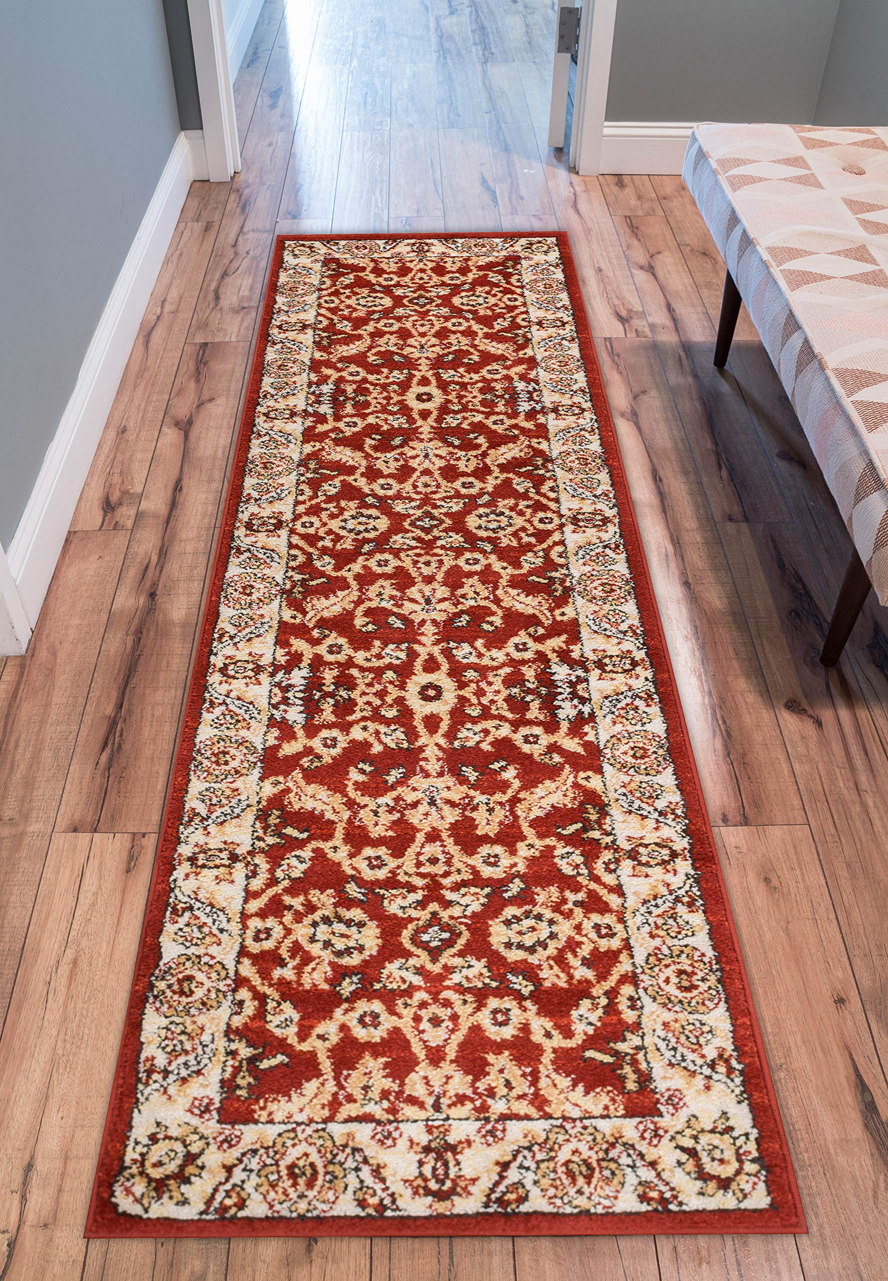 Well Woven 22902 Sydney Vintage Carleton Red Traditional French Country Oriental Area Rug 2'3'' x 7'3'' Runner