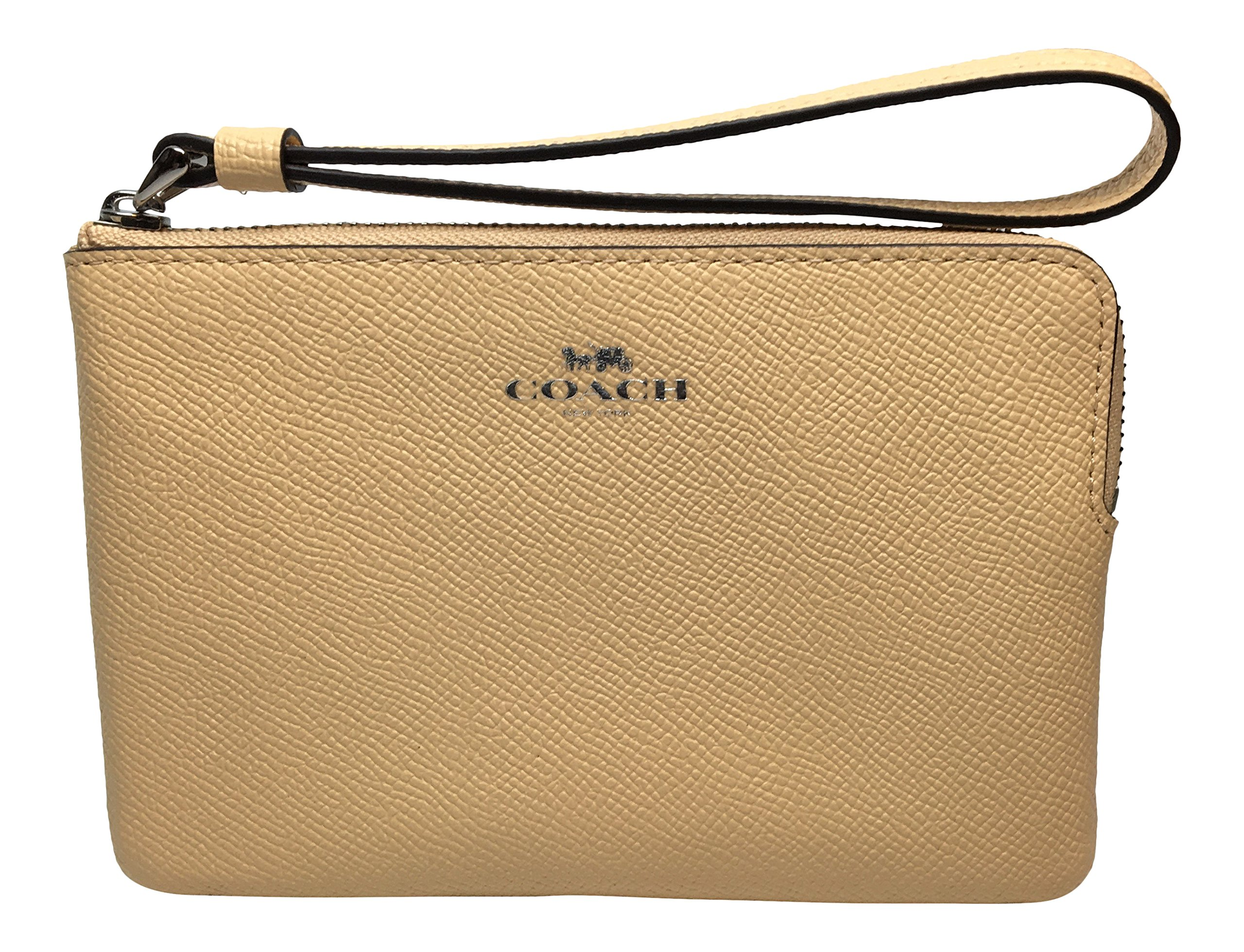 Coach Crossgrain Leather Corner Zip Wristlet Vanilla F58032