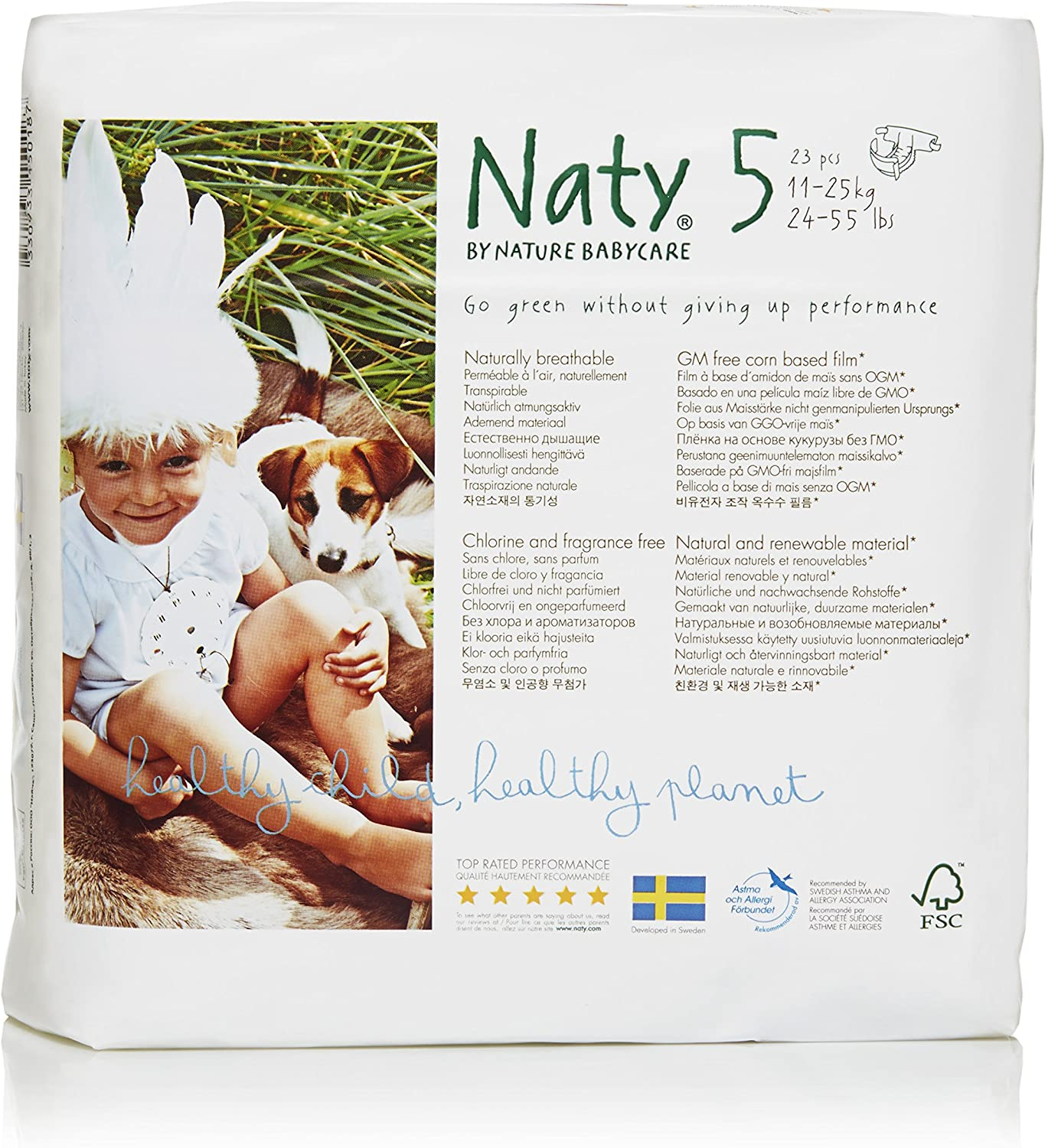 Naty by Nature Babycare Eco-Friendly Premium Disposable Diapers for Sensitive Skin, Size 5, 4 packs of 23 (92 Count) (Chemical, chlorine, perfume free)