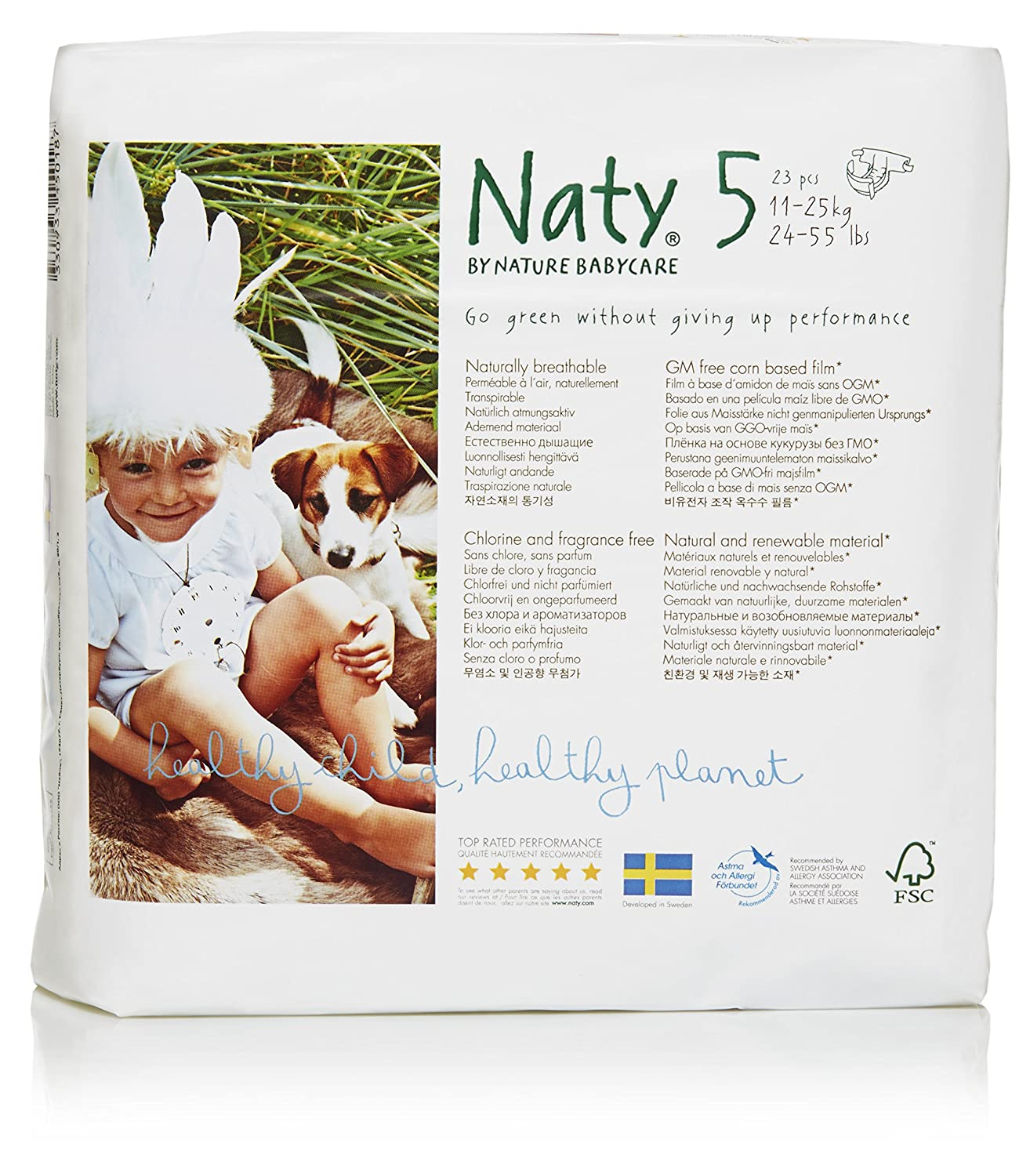 Naty by Nature Babycare Eco-Friendly Premium Disposable Diapers for Sensitive Skin, Size 2, 4 packs of 34 (136 Count) (Chemical, chlorine, perfume free) Naty SE Canada 244176