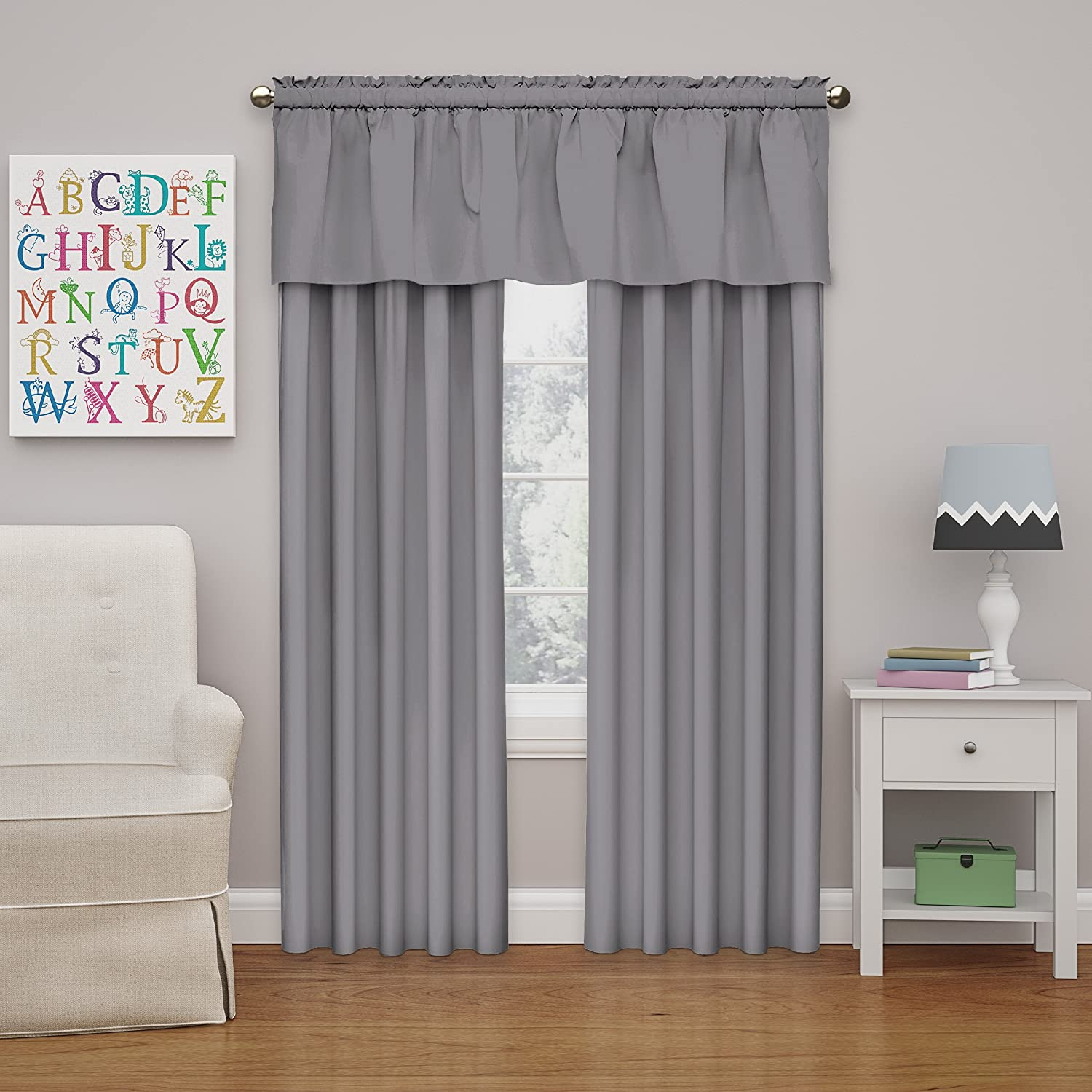 Eclipse Kids Microfiber 42-Inch by 18-Inch Room Darkening Window Valance, Grey