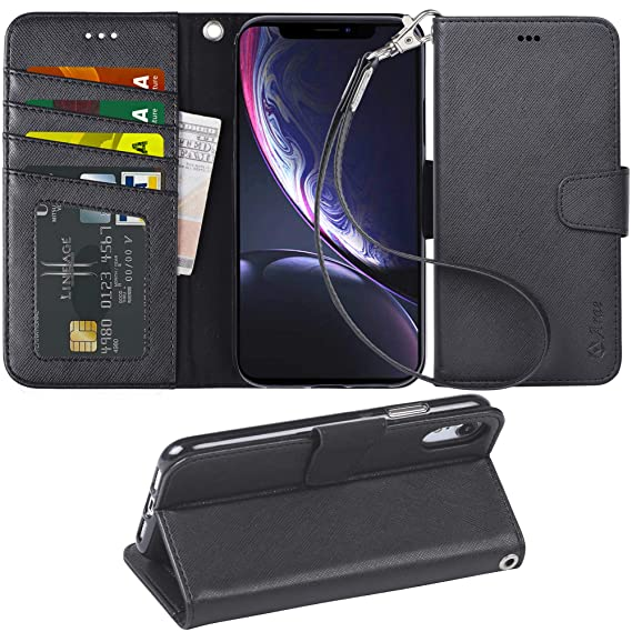 82be333e26c4 Arae Wallet Case Designed for iPhone xr 2018 PU Leather flip case Cover  [Stand Feature] with Wrist Strap and [4-Slots] ID&Credit Cards Pocket for  ...