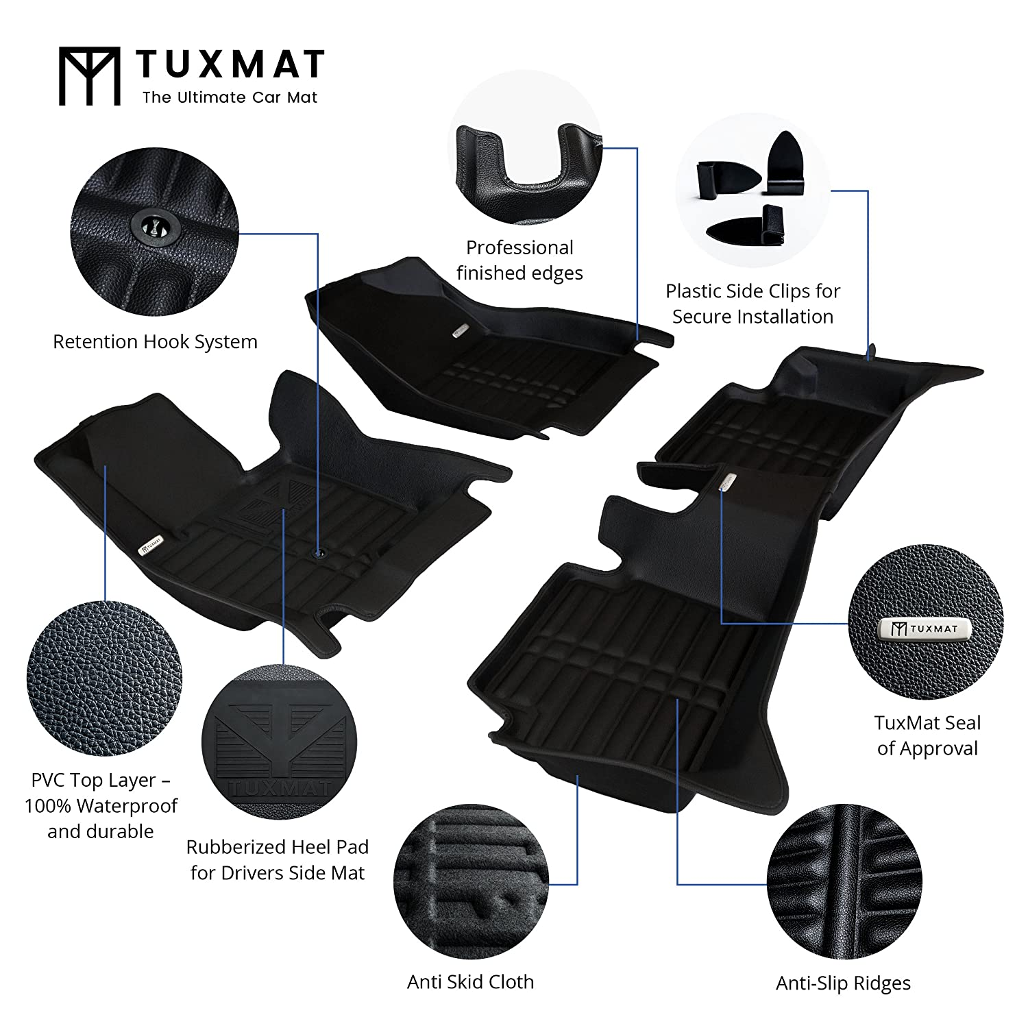 Largest Coverage Waterproof TuxMat Custom Car Floor Mats for Toyota Corolla Sedan 2014-2019 Models/ - Laser Measured The Ultimate Winter Mats All Weather Full Set - Black