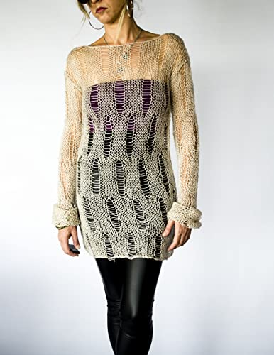 8d2c6ed207d Amazon.com  Loose Knitted Unisex Sweater Dress in Oatmeal Color  Handmade
