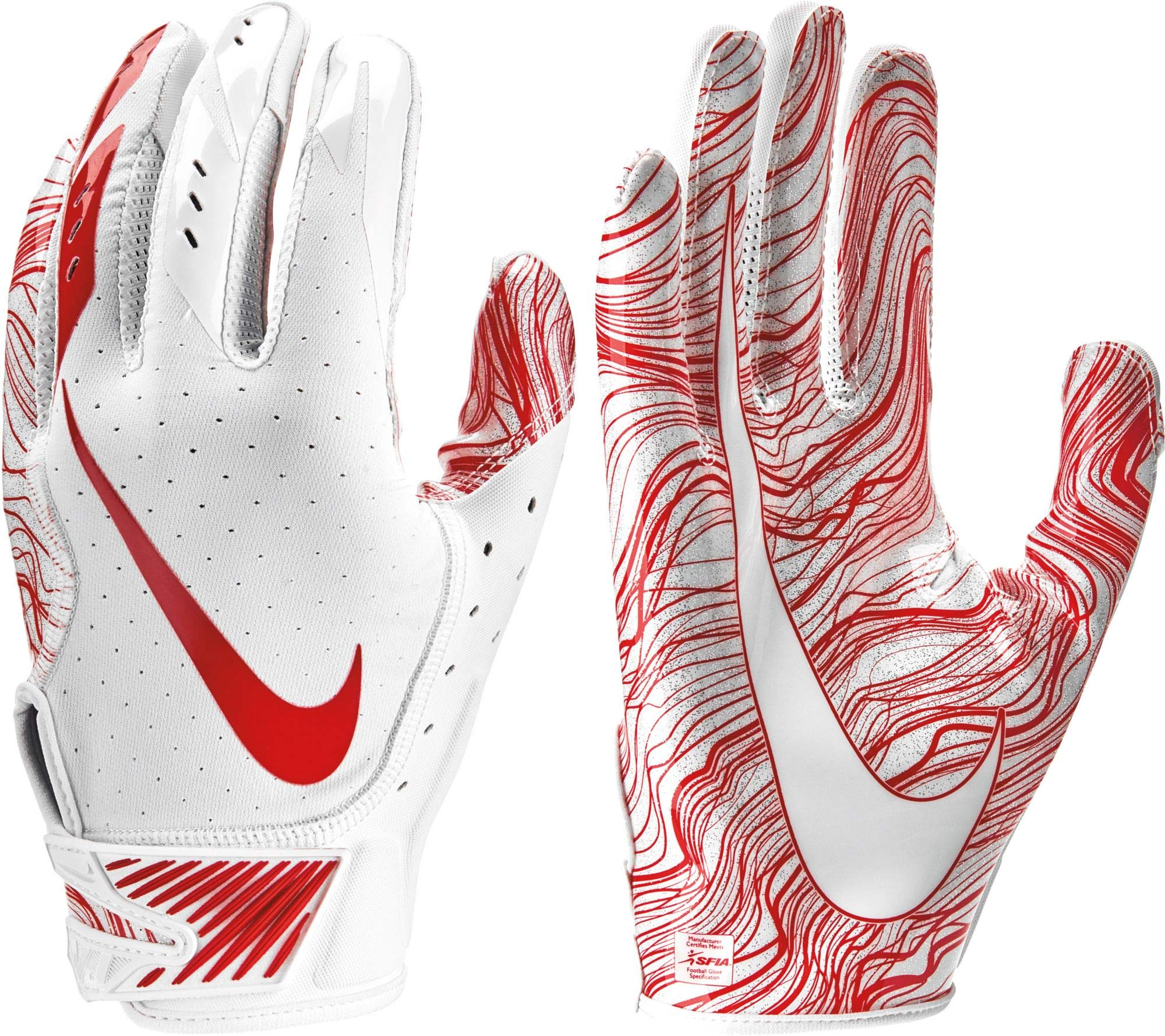 Nike Adult Vapor Jet 5.0 Receiver Gloves 2018 (White/University Red, Small)