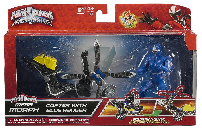 Power Rangers Mega Morph de Acero 43573 Ninja Copter con Blue Ranger