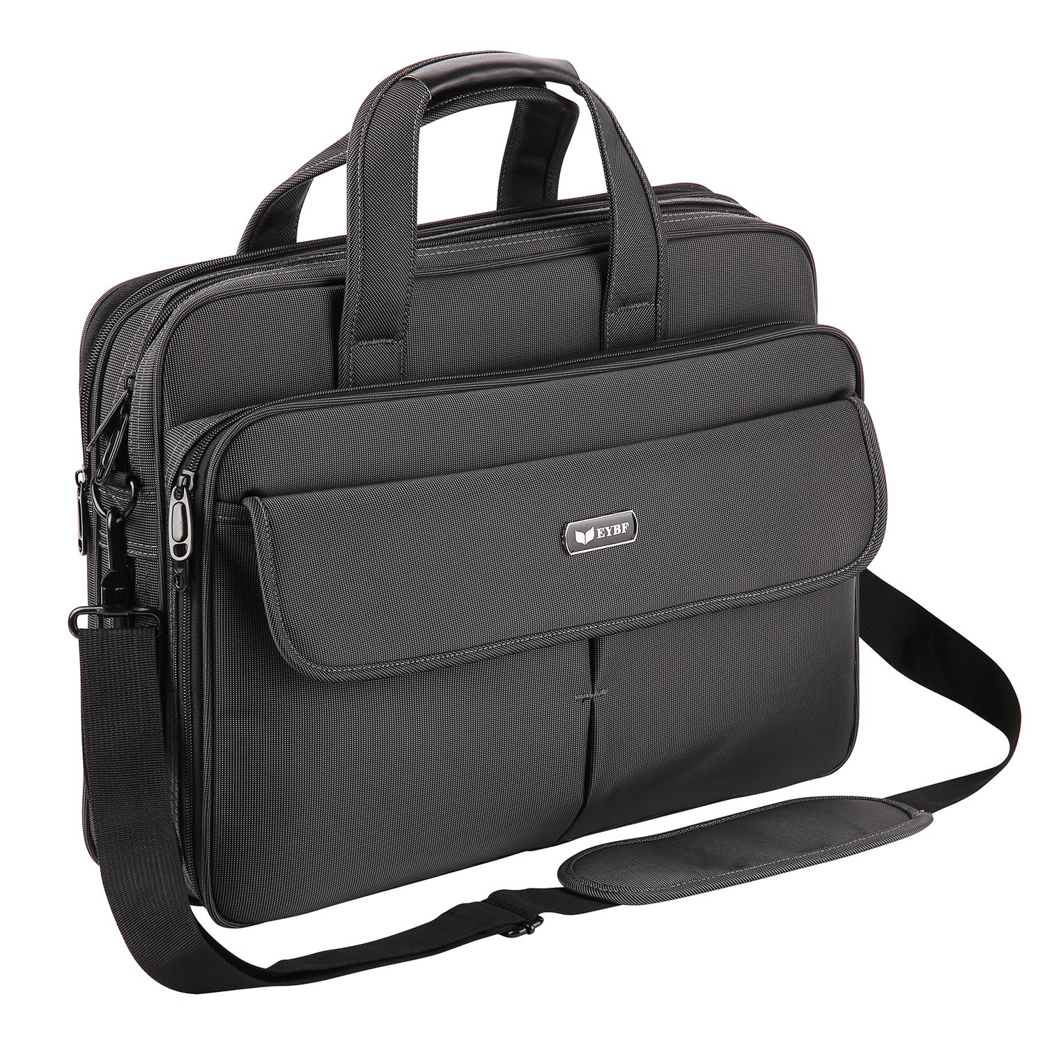 EYBF Laptop Bag 15.6 Inch, Expandable Travel Business Briefcase for Men & Women, Water Resistant Messenger Shoulder Bag with Organizer, Black by EYBF (Image #7)