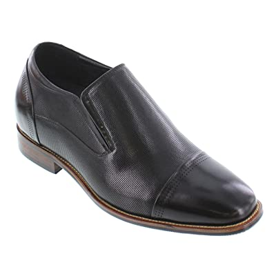 CALTO Men's Invisible Height Increasing Elevator Shoes - Premium Leather Slip-on Dress Loafers - 3 Inches Taller | Loafers & Slip-Ons