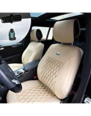 FH Group PU204102 Victorian Style Luxurious Leatherette Cushion Pad Seat Covers, Beige Color w. Free Air Freshener- Fit Most Car, Truck, SUV, or Van