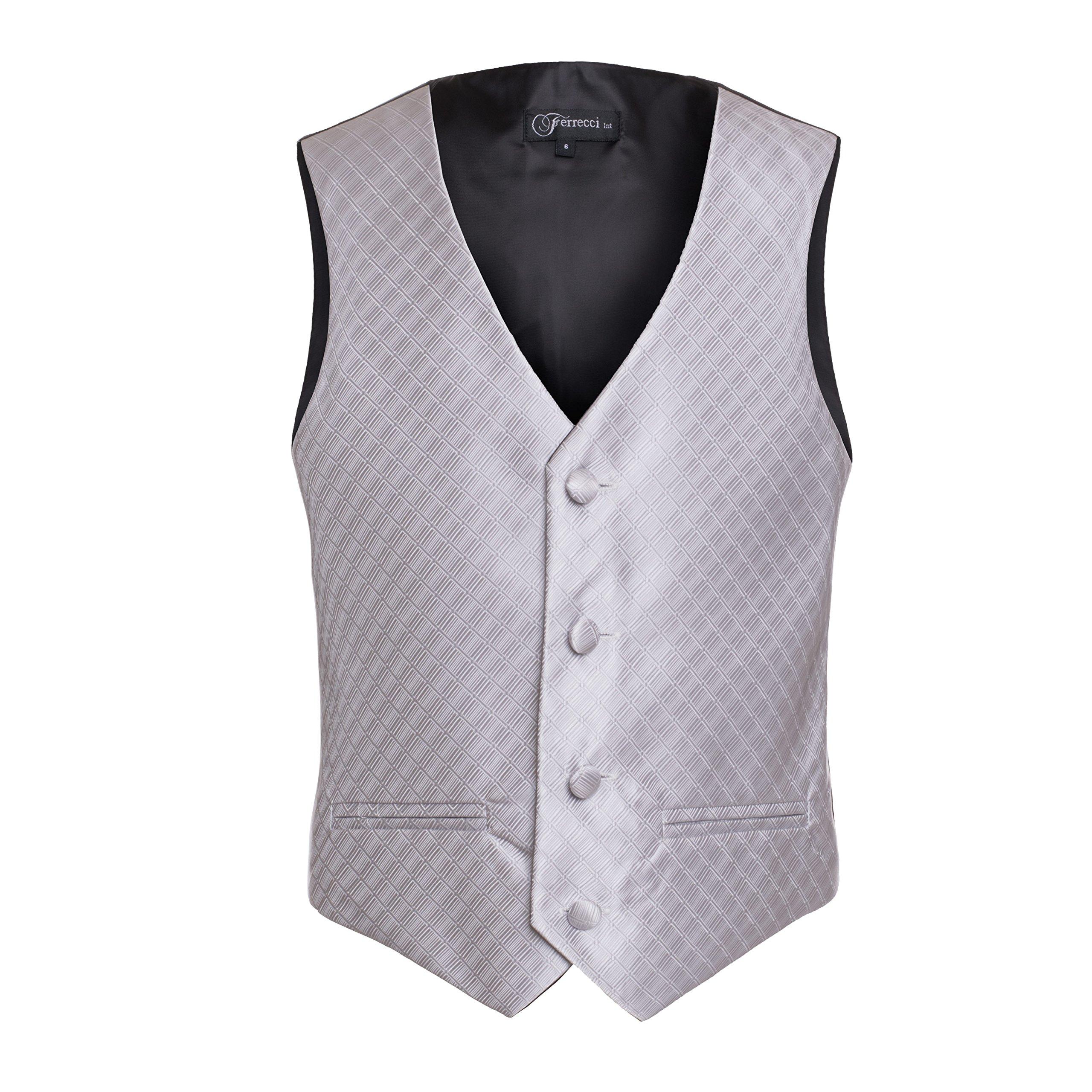 Ferrecci Boys Silver Premium 300 Vest Hankie Necktie Bow Tie Set, Size 8