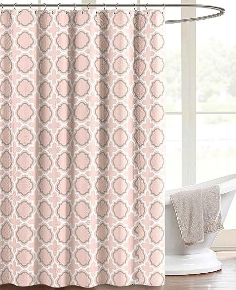 Coral Peach Canvas Fabric Shower Curtain Quatrefoil Moroccan Design 70quot