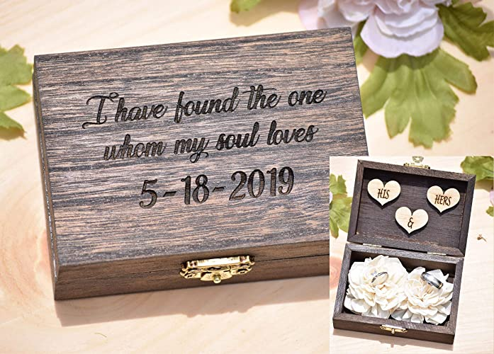 b8d4430ba5 Image Unavailable. Image not available for. Color: Wood Ring Box -  Personalized Proposal Wedding Ring Box Holder ...
