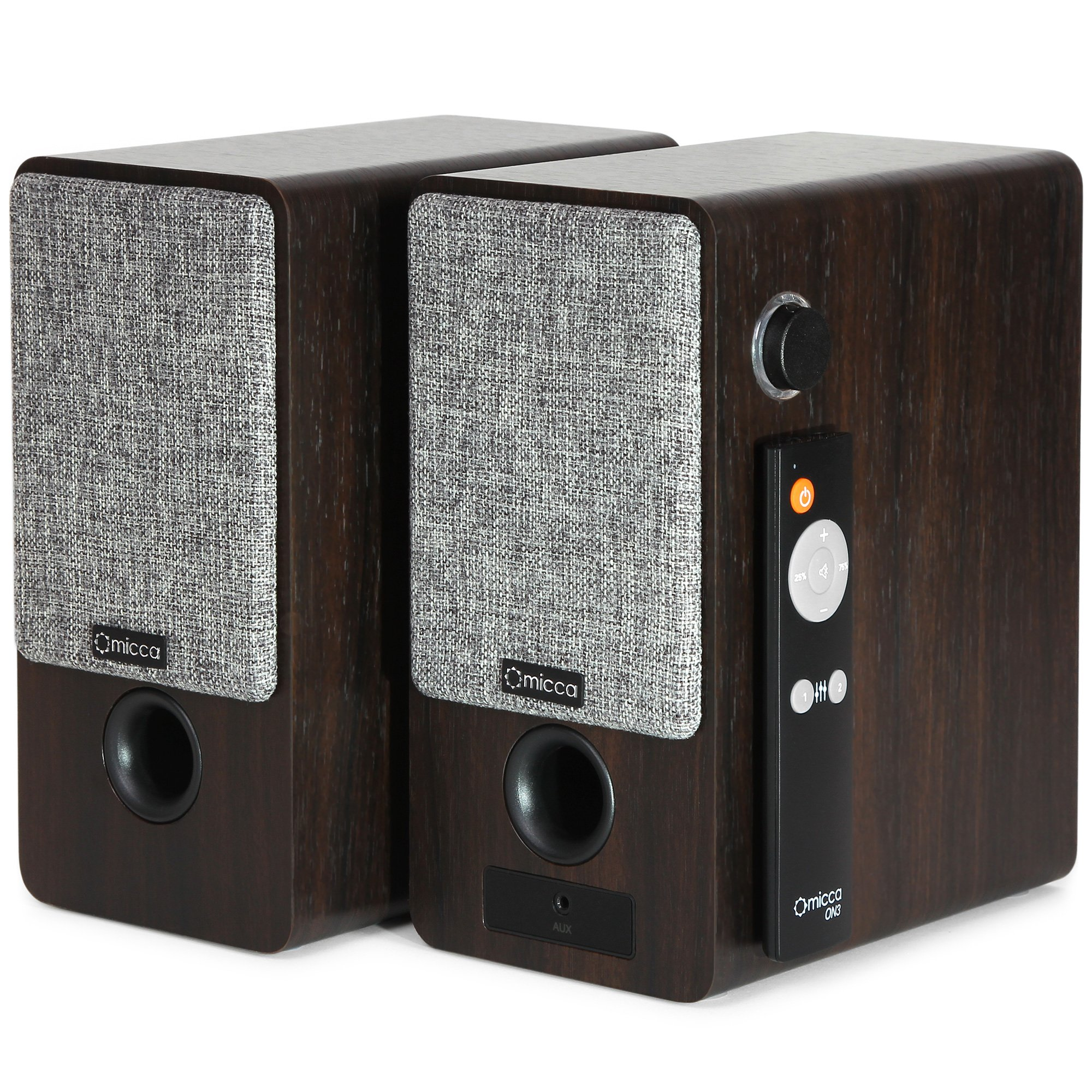 Micca ON3 3-Inch Powered Bookshelf Speakers with Remote Control, 48 Watts (24W x 2) RMS Power, Front and Rear Input Jacks by Micca (Image #4)