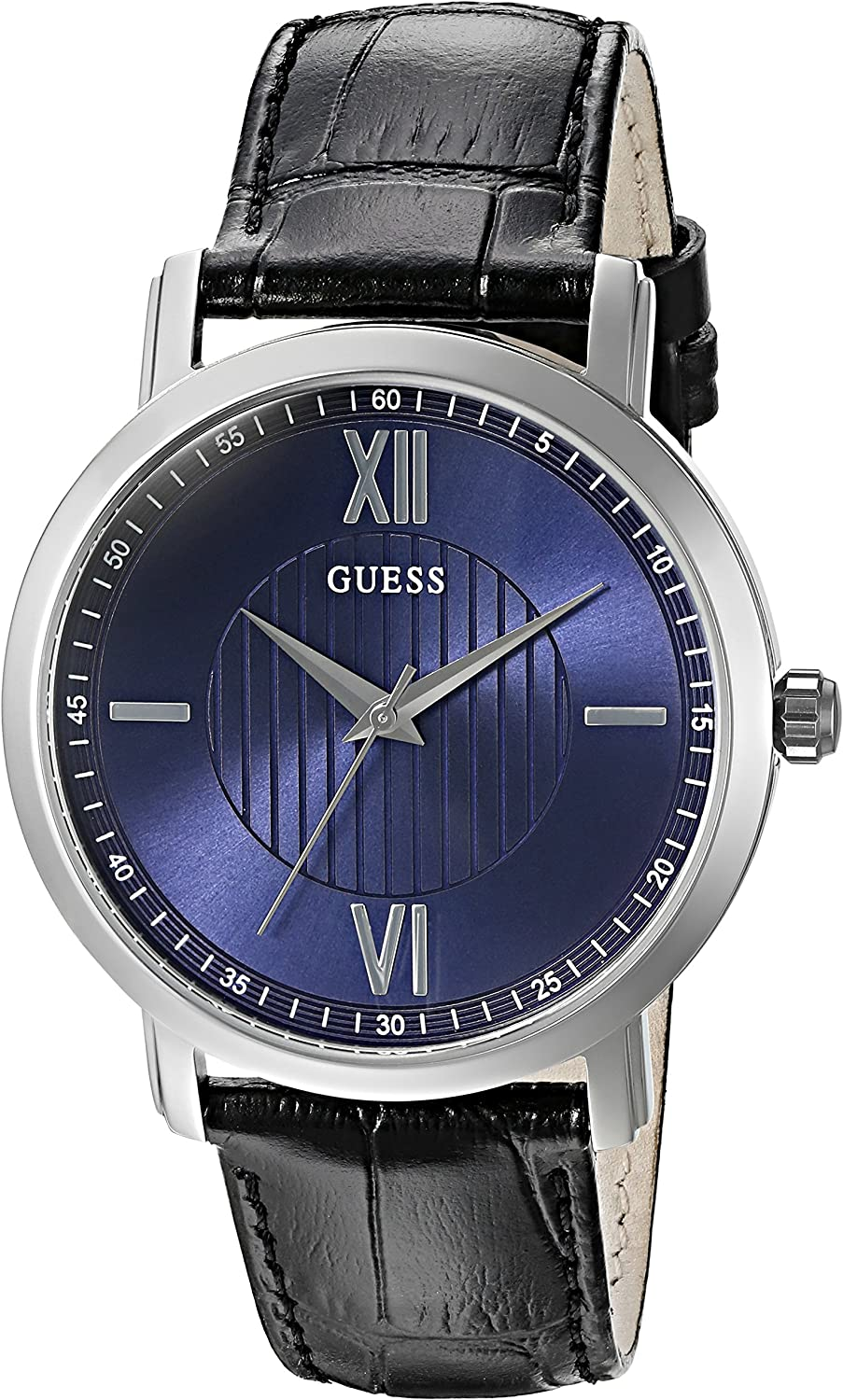 GUESS Men s U0793G2 Diamond Dial Watch with Blue Dial on Black Genuine Leather Strap