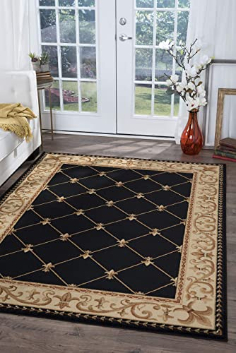 Orleans Traditional Border Black Rectangle Area Rug, 5 x 7