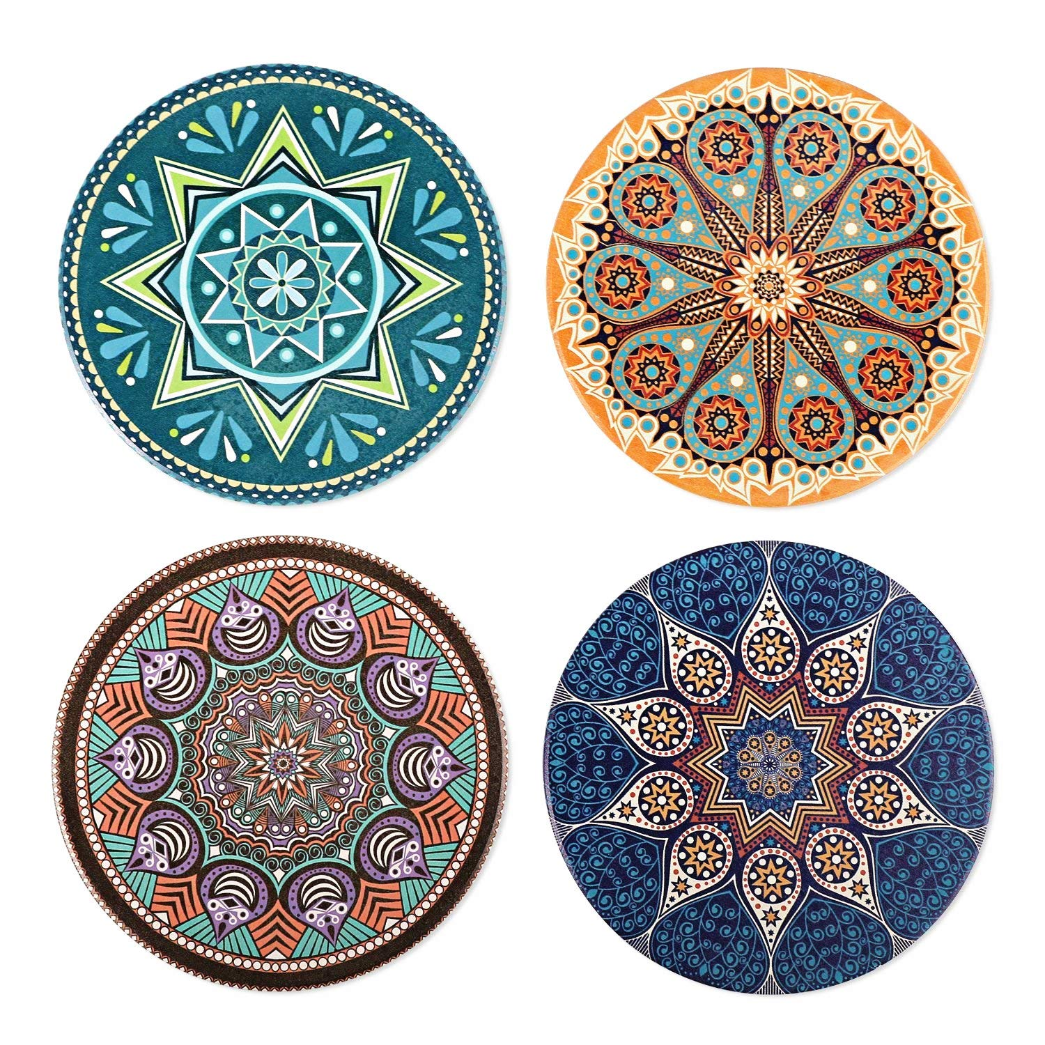 WATSON Coasters For Drinks Absorbent -4 Pack Large 4.0'' Size Ceramic Stone Coaster With Cork Back, Bohemia Style-Prevent Furniture from Dirty and Scratched.