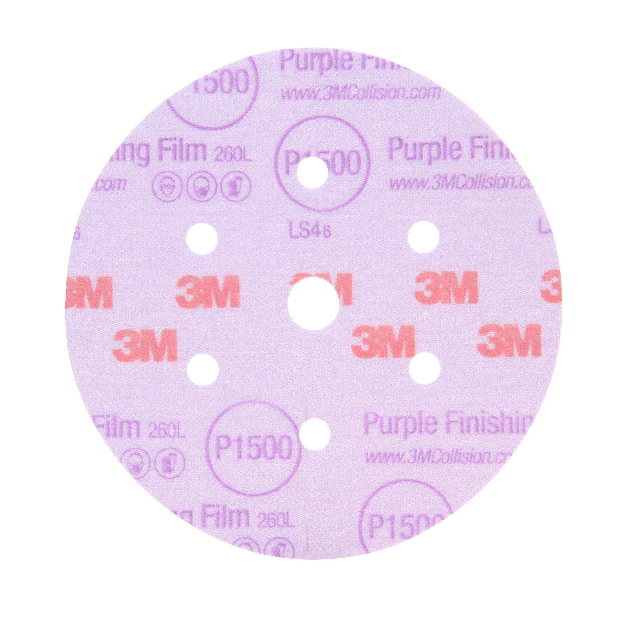 3M 30367 Hookit Purple 3'' P1500 Grit Finishing Film Disc