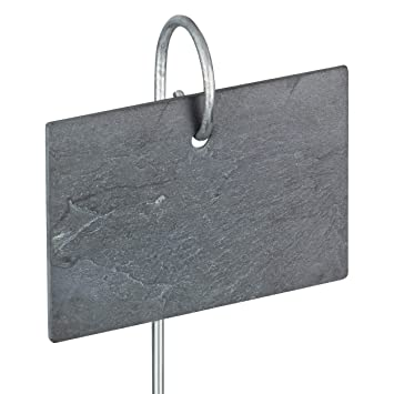 GardenMate® - 10 Placas de Pizarra Conjunto con 55cm Barra de Metal - Estilo Moderno