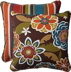 Pillow Perfect Indoor/Outdoor Annie Westport Reversible Corded Throw Pillow, 18.5-Inch, Chocolate, Set of 2