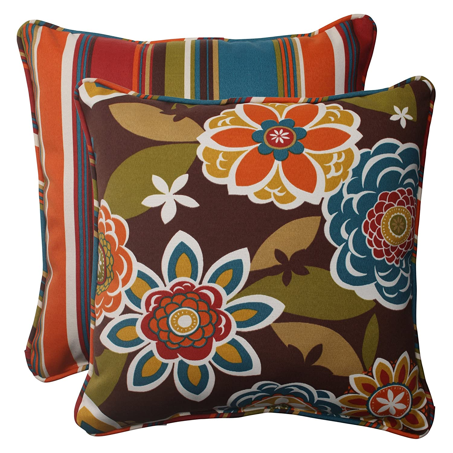 Westport Reversible Corded Throw Pillow, 18.5-Inch, Chocolate, Set of 2