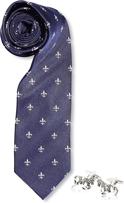 SILVIO SILVANI Pack Corbata Azul Marino con Flor De lis En Blanco Y Bandera De España + Gemelos Fantasia De Caballo: Amazon.es: Zapatos y complementos