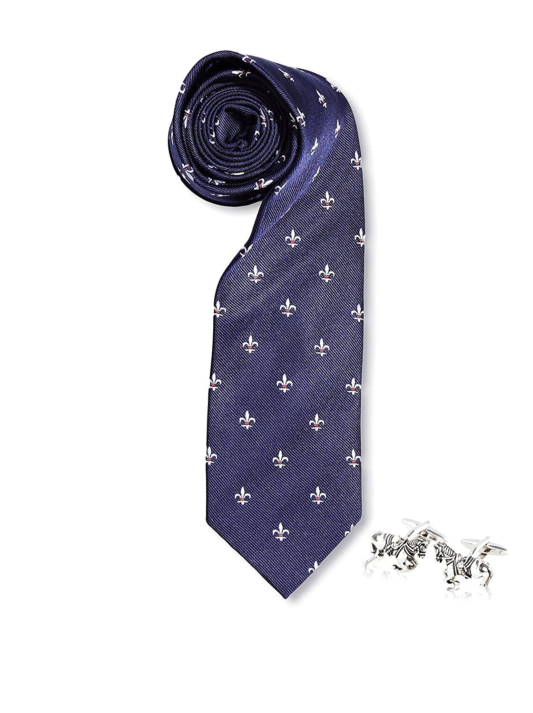 SILVIO SILVANI Pack Corbata Azul Marino con Flor De lis En Blanco ...