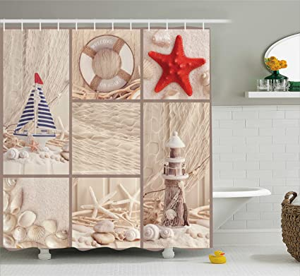 Ambesonne Nautical Shower Curtain By Marine Sail Boat Lifebuoy Starfish Lighthouse Sand Shell Sea Life