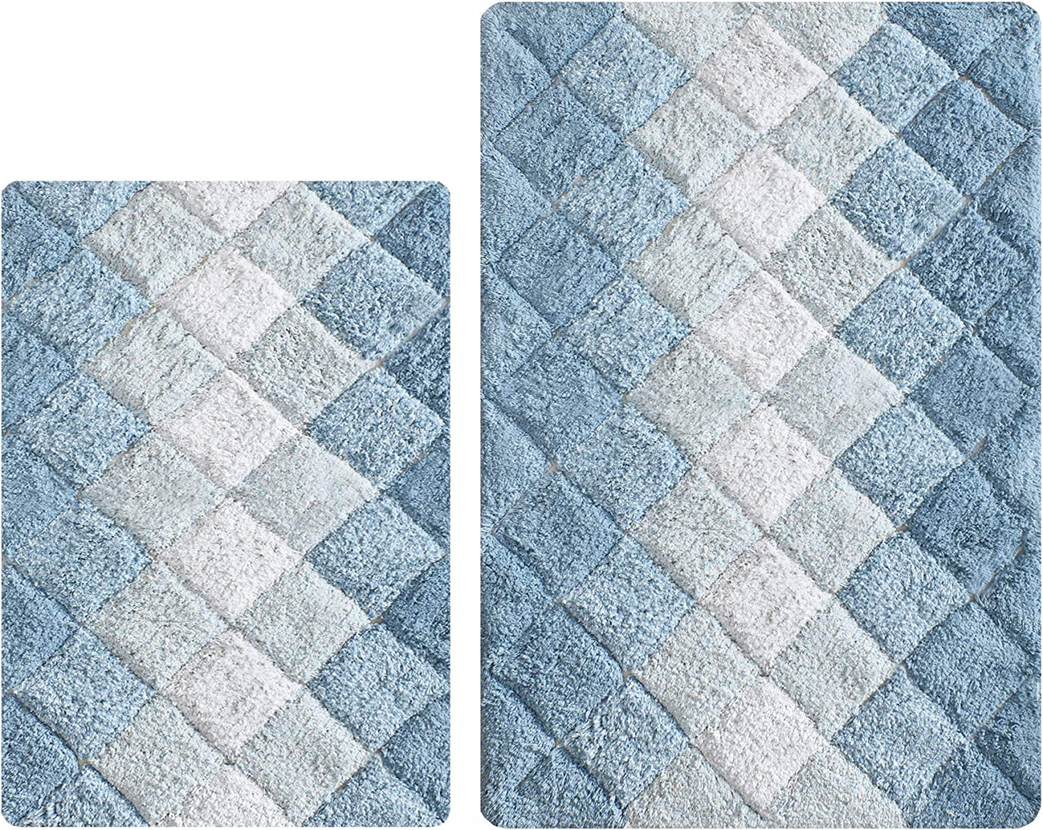 Bathroom Rugs Set 2 Piece in 100% Cotton Albany Inspired Bath Rugs 21x32/17x34, Blue Combo,Anitskid Bath Rugs Set,Cotton Bath Mat,Cotton Bath Rugs,Soft Absorbent Machine Washable,Non Slip Bath Rug