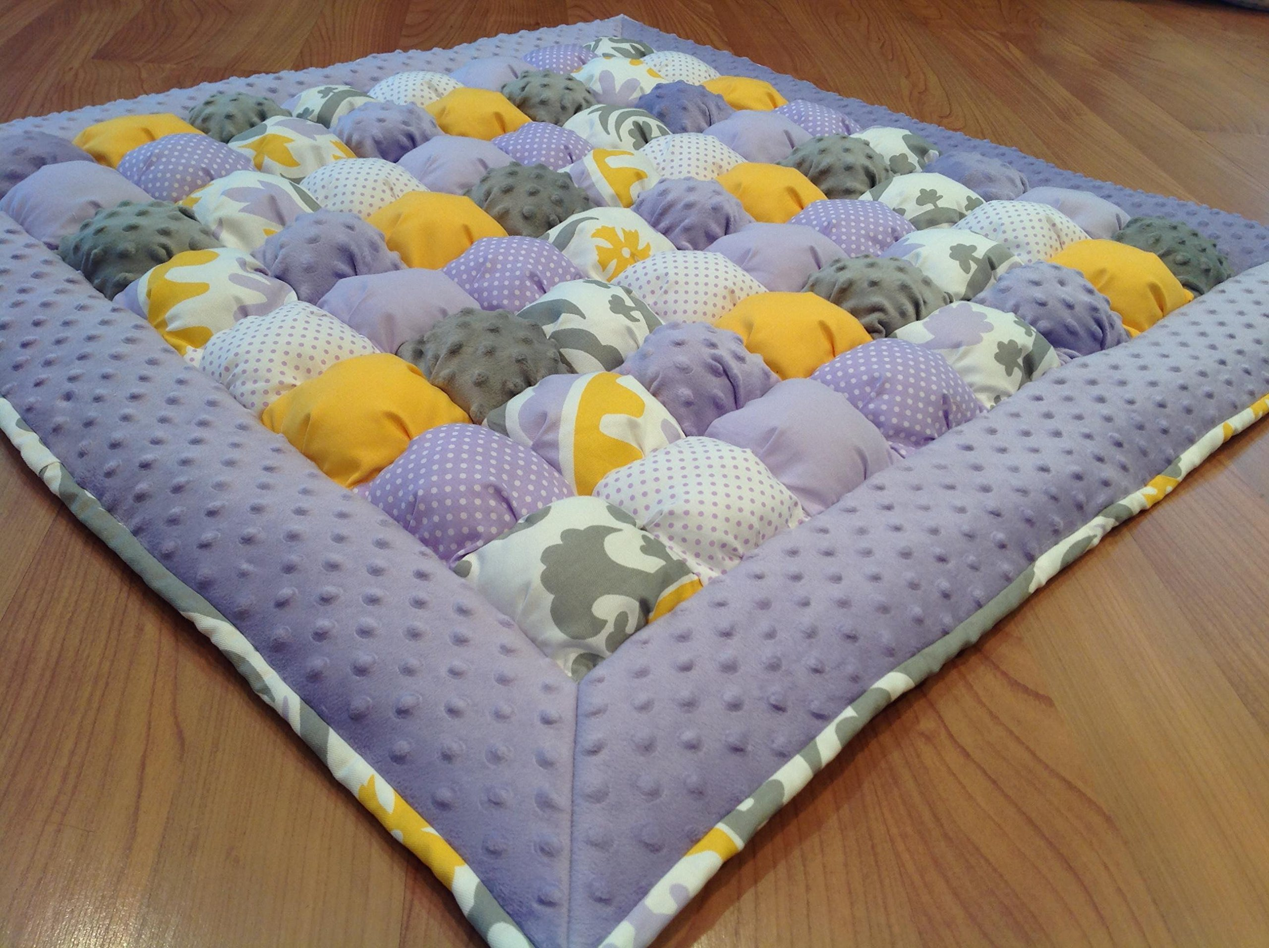 Bubble Puff Quilt for Floor Time Tummy Time in Gray, Lavender and Yellow