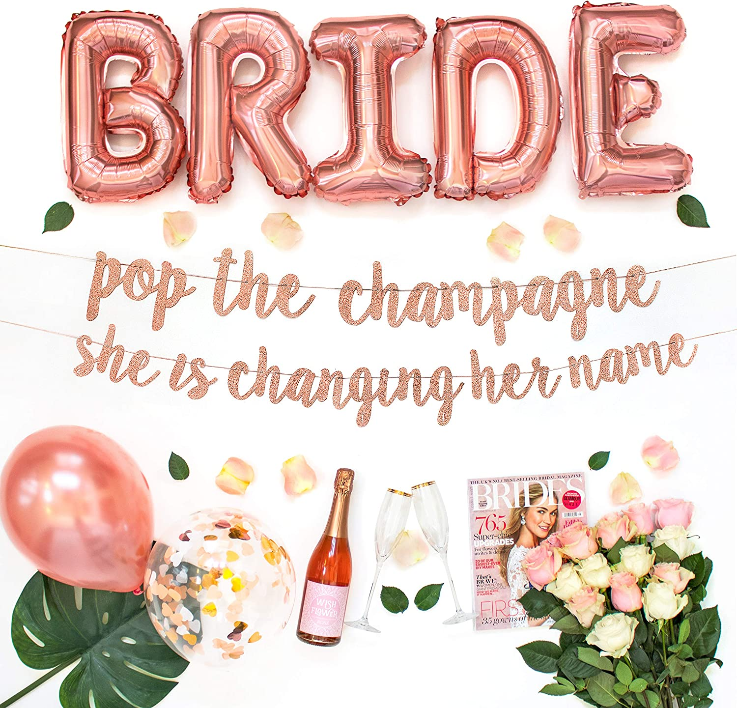 Bachelorette Party Decorations Kit | Bridal Shower Supplies | Bride to Be Sash, Ring Foil, Rose Glitter Banner | Pop The Champagne She is Changing Her Name (Rose Gold)
