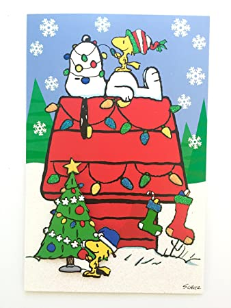 Hallmark peanuts snoopy and woodstock holiday christmas cards box set of 18 with self sealing envelopes